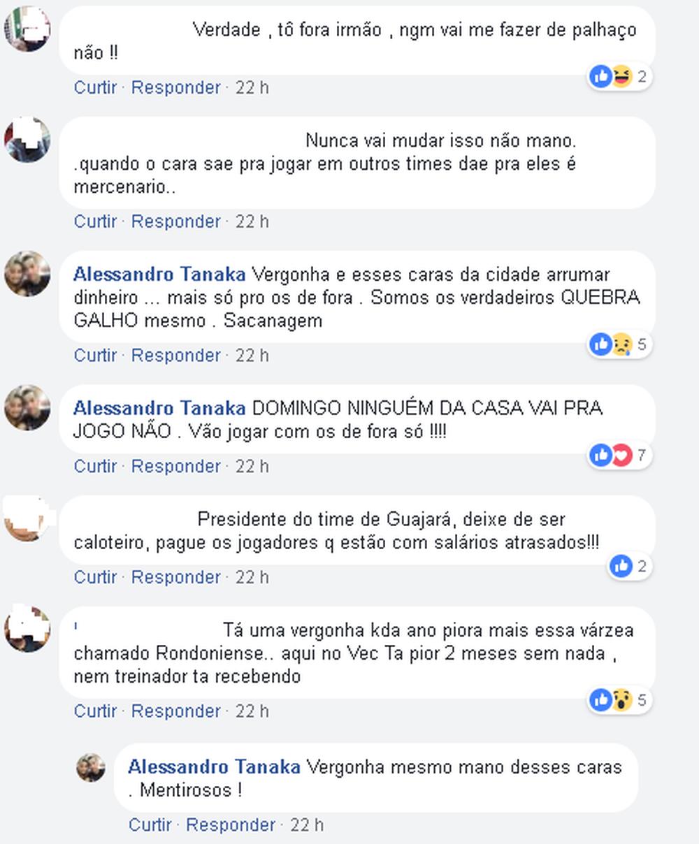 Comentários na postagem de Tanaka (Foto: Reprodução do facebook)