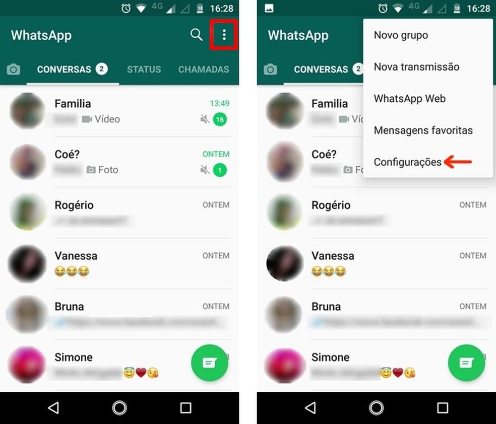 Acesse o menu de configurações do WhatsApp no Android — Foto: Reprodução/Raquel Freire