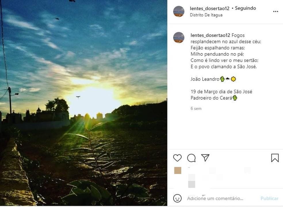 Algumas fotos de João Leandro são legendadas com poesia escritas por ele. — Foto: Instagram/ Reprodução