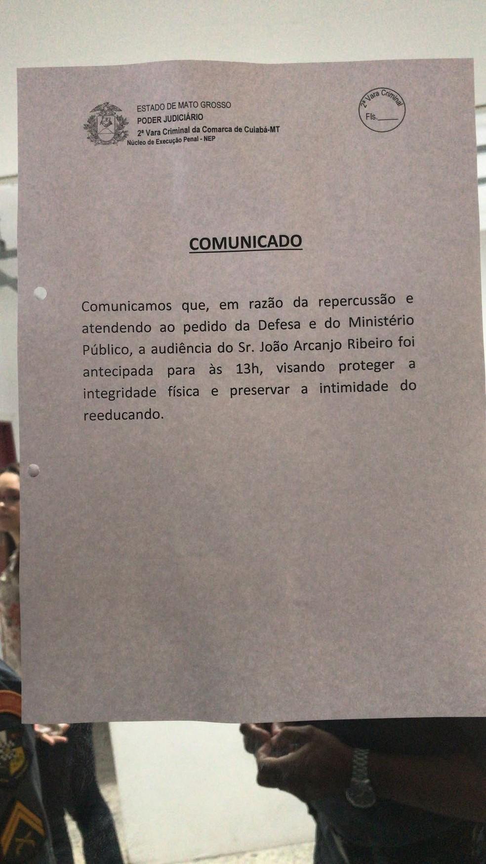 Comunicado diz que audiência foi antecipada (Foto: Lislaine dos Anjos/ G1)