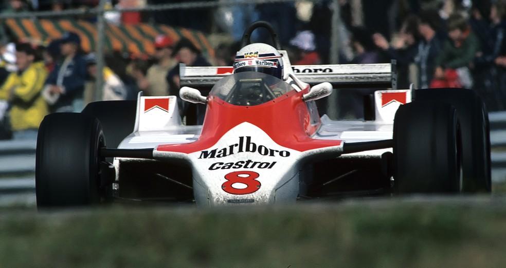 Alain Prost pilotou McLaren M30 pela primeira vez em Zandvoort, em 1980 — Foto: Getty Images