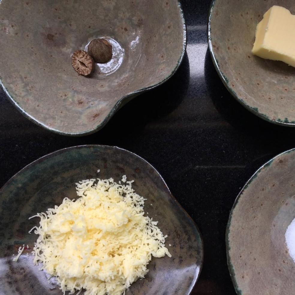 Receita do nhoque do chef Troiani leva manteiga, queijo parmesão ralado, sal e noz-moscada, entre outros ingredientes — Foto: Wilton Troiani