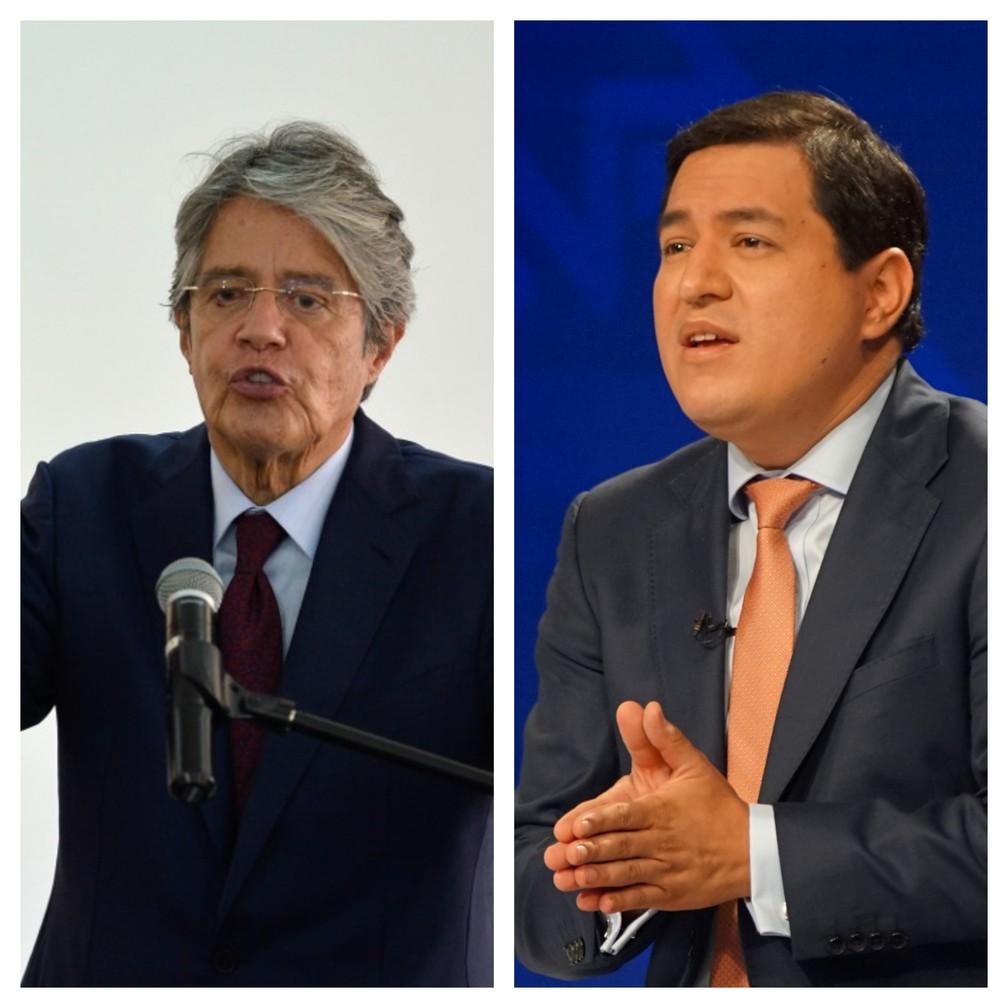 Guillermo Lasso e  Andres Arauz, principais candidatos à presidência do Equador — Foto: AFP e Reuters