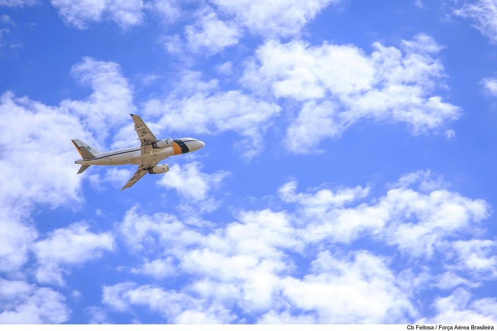 Avião presidencial no céu de Brasília (Foto: FAB/Divulgação)