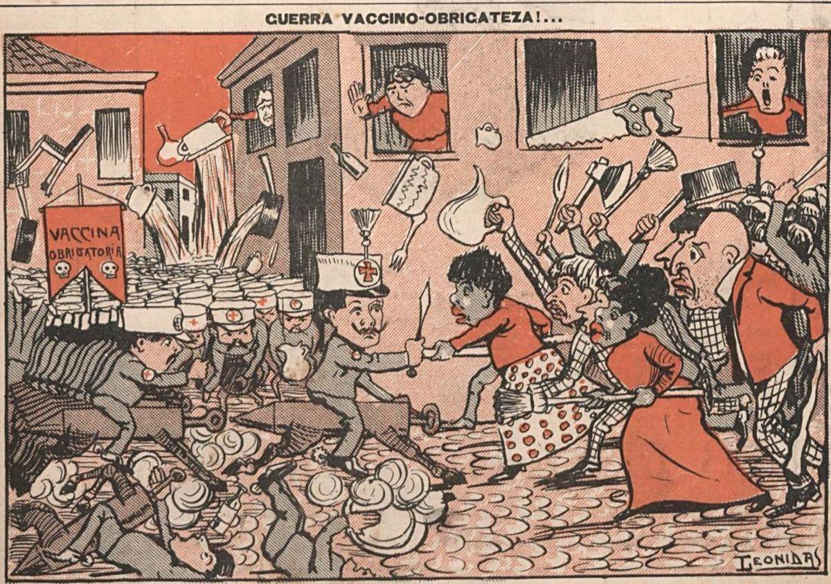Charge da época que retrata a 'Revolta da Vacina' (Foto: Reprodução)