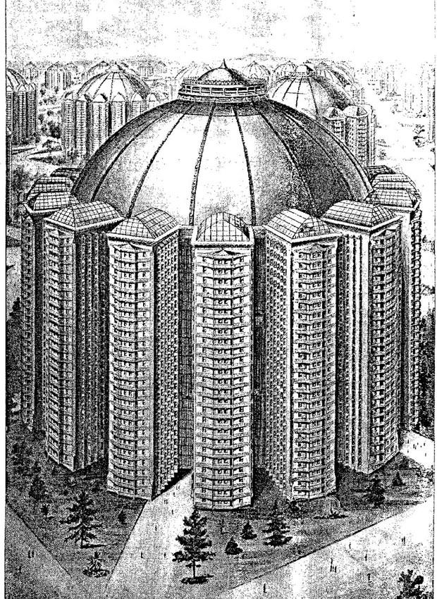 Na cidade utópica, 60 milhões de pessoas morariam em prédios gigantes, iluminados e conectados por uma cúpula de vicro (Foto: Twitter/ Reprodução)