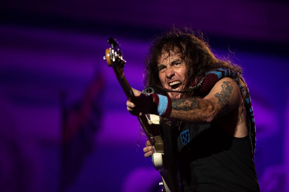Iron Maiden toca no Palco Mundo nesta sexta (4), quinto dia do Rock in Rio 2019 — Foto: Marcelo Brandt/G1