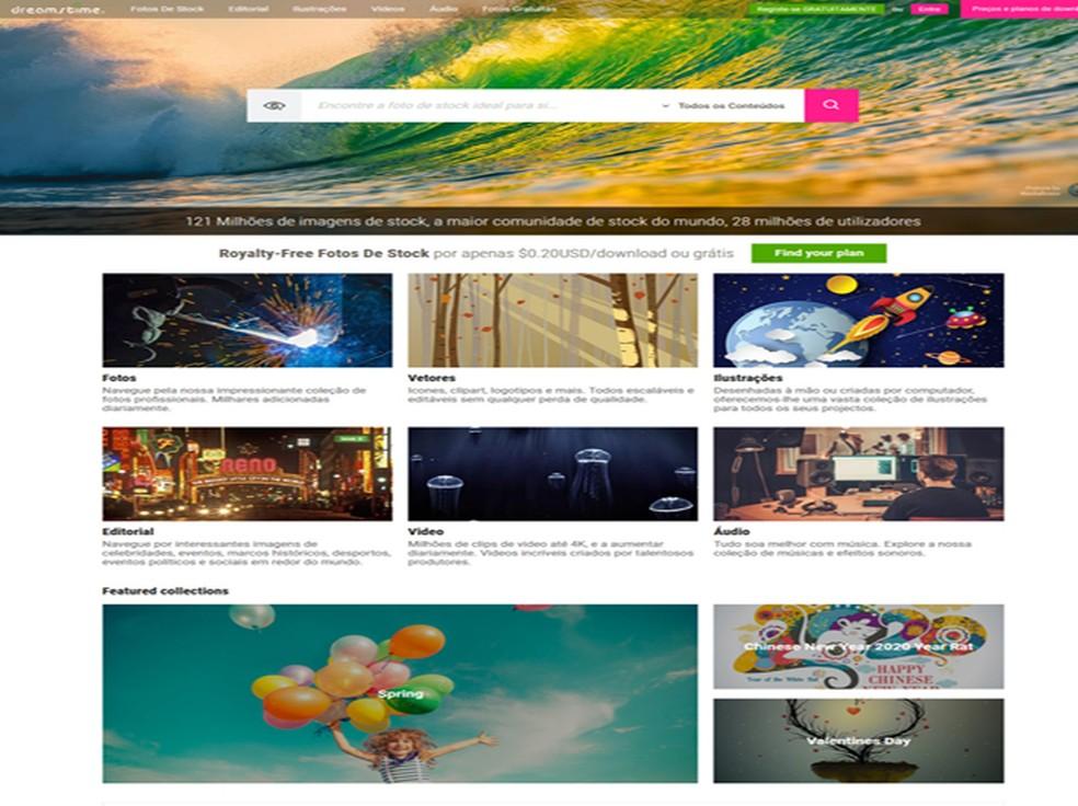 Dreamstime tem 128 milhões de imagens em seu site — Foto: Reprodução / Dreamstime