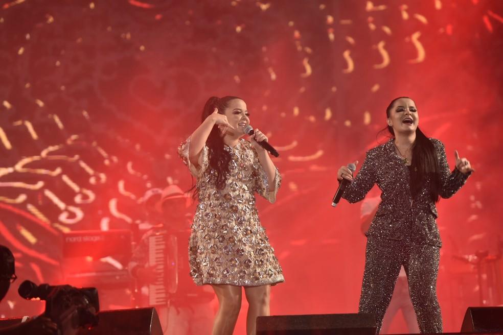 Dupla Maiara e Maraísa faz show na madrugada de domingo (15), na Expo Prudente — Foto: Elias Dantas/Ag. Haack