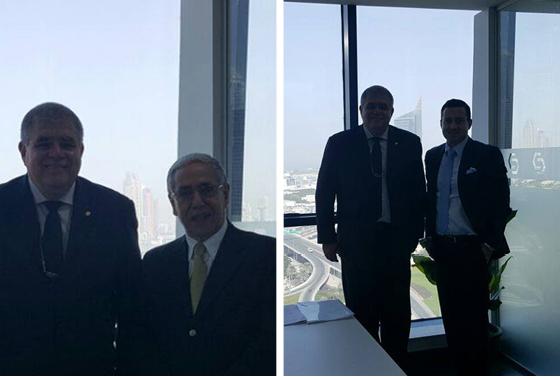 Carlos Marun viajou a Dubai acompanhado de Mário Fernando Calheiros (à esq.), diretor comercial de sua empresa, e se reuniu com Shaun G. Morgan (à dir.), dirigente de banco com processos na Justiça (Foto: REPRODUÇÃO: FACEBOOK)