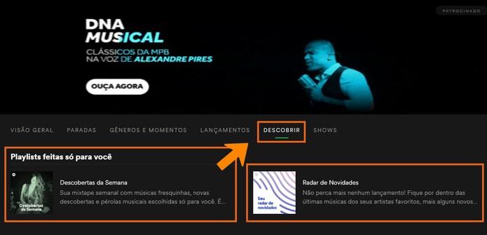Descubra novas playlists feitas para você e veja o radar de novidades (Foto: Reprodução/Barbara Mannara)