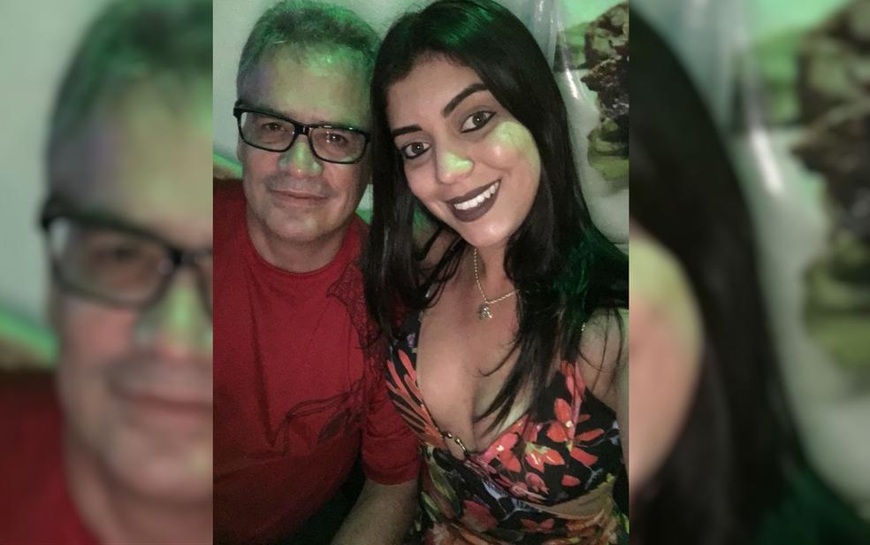 O empresário Lindomar Trovão dos Santos e a companheira, Ingrid Cristhine Rodrigues; jovem foi presa, nesta quinta, suspeita de matar o homem (Foto: Reprodução)