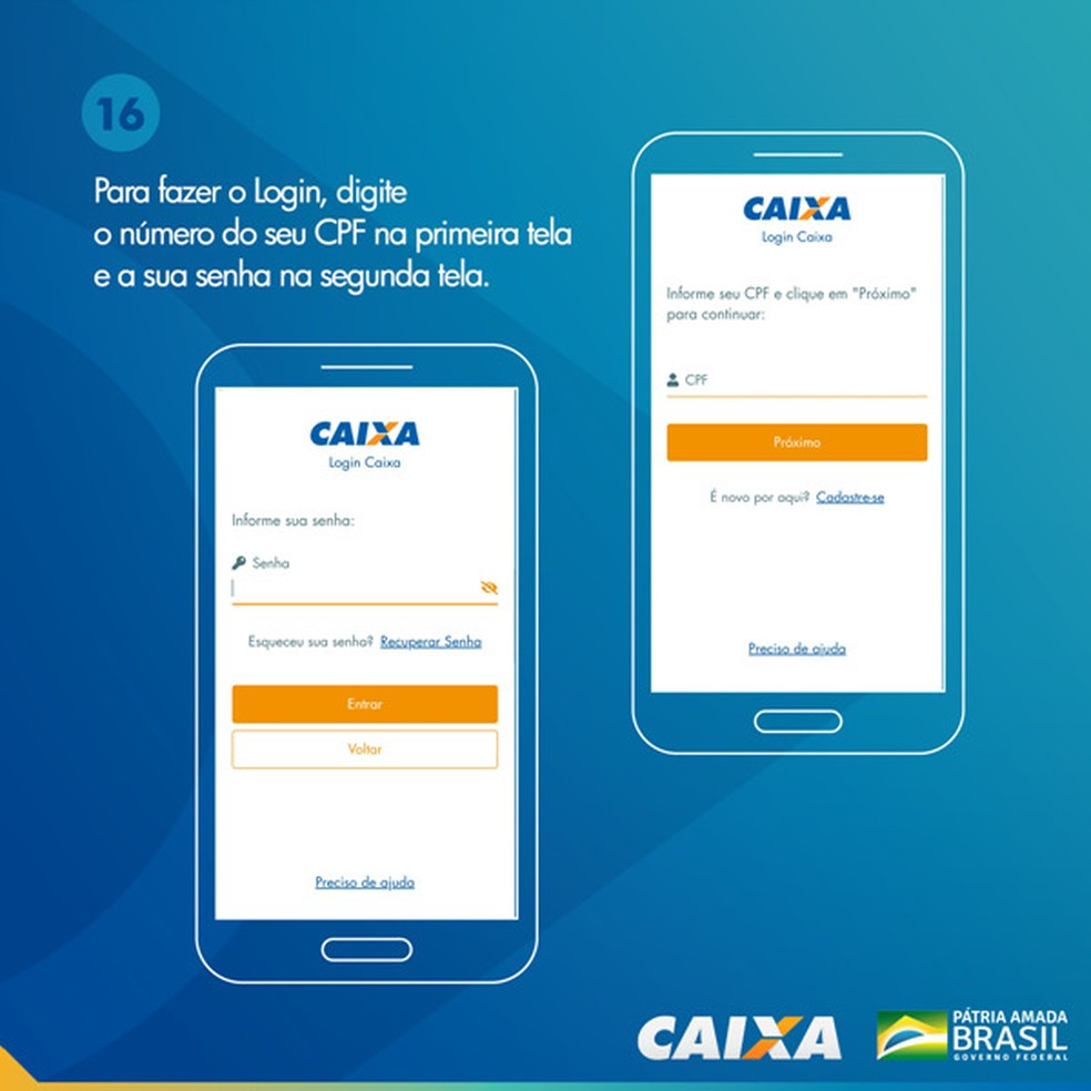 Tela 16 para pedir abertura da poupança social digital — Foto: Divulgação Caixa