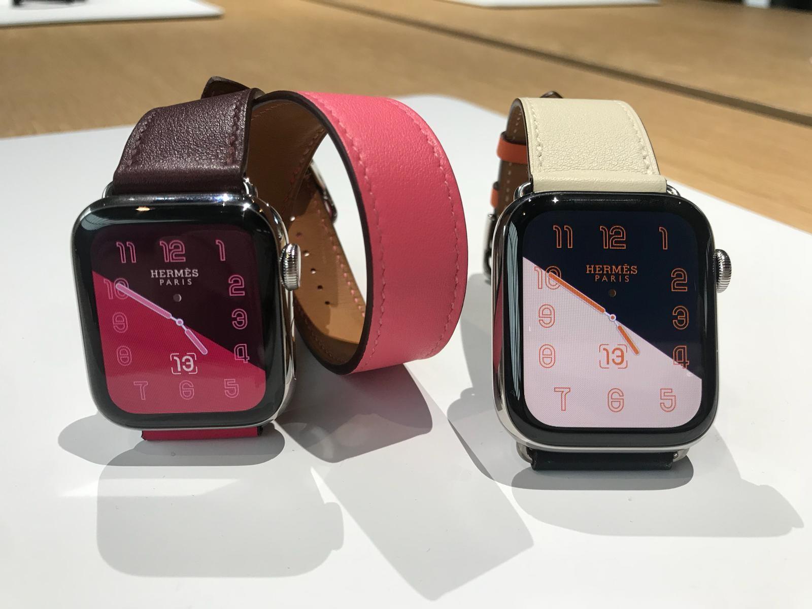 Os novos Apple Watch criados em parceria com a Hermès (Foto: Larissa Gomes)
