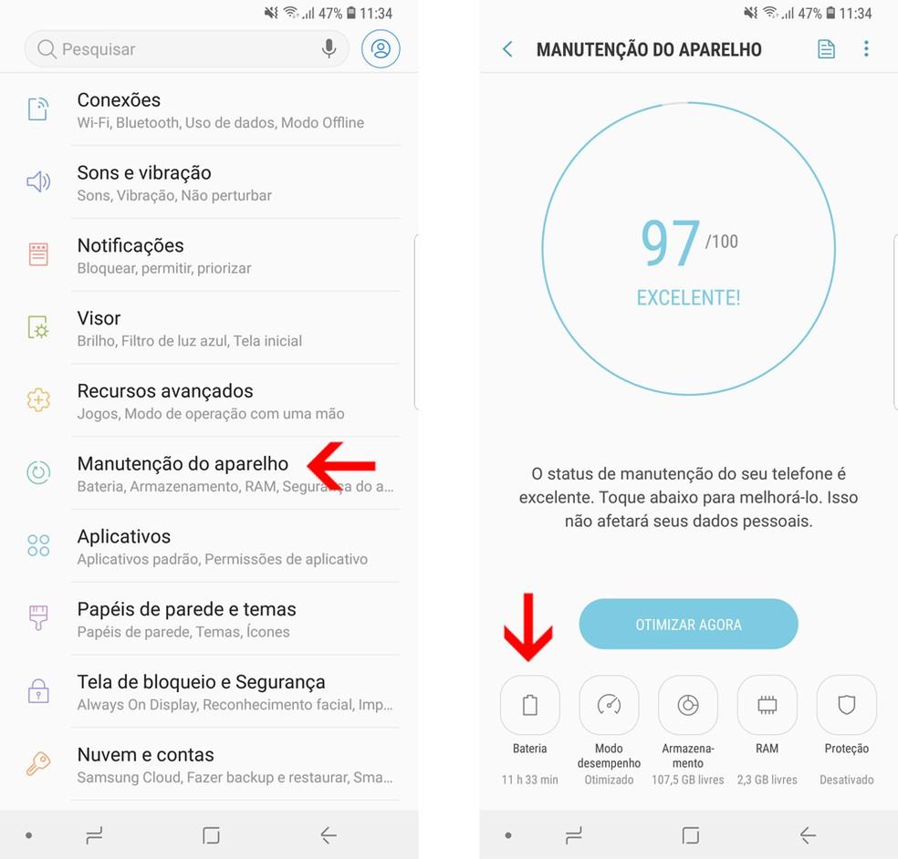 Acesse as configurações de bateria do Galaxy S9 (Foto: Reprodução/Bruno De Blasi)