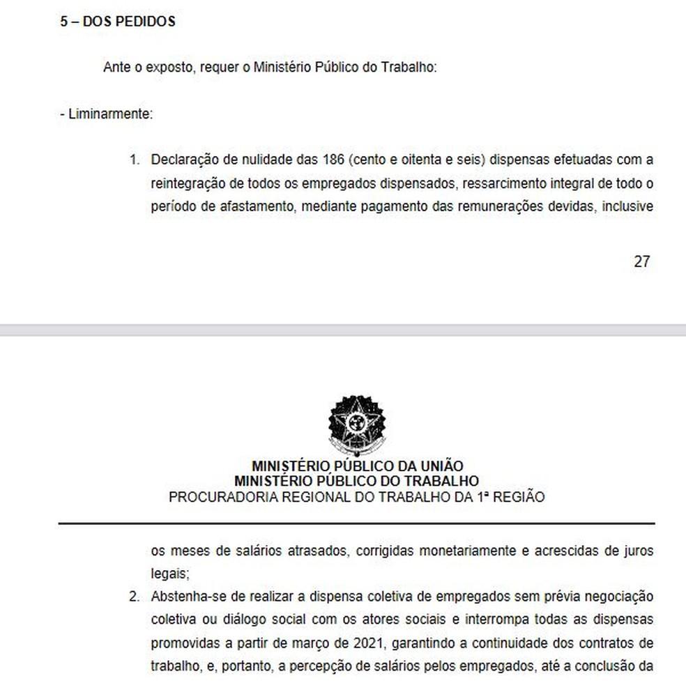 Trecho dos pedidos do MPT contra o Vasco — Foto: Reprodução