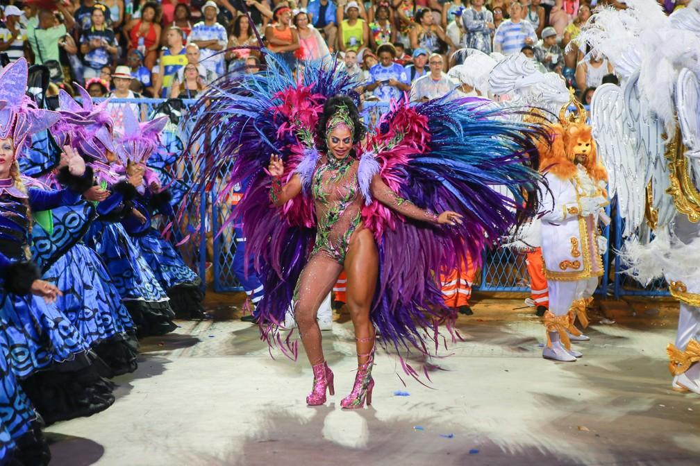 Sávia David é a dama das bromélias em desfile da Beija-Flor  — Foto: Rodrigo Gorosito/G1