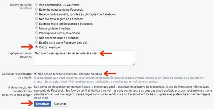 Informações sobre motivo da desativação de conta no Facebook (Foto: Reprodução/Raquel Freire)