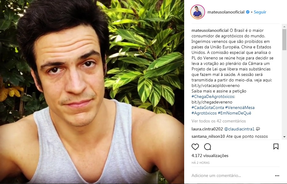 Post Mateus Solano - Instagram - PL agrotóxico (Foto: Reprodução/Instagram)