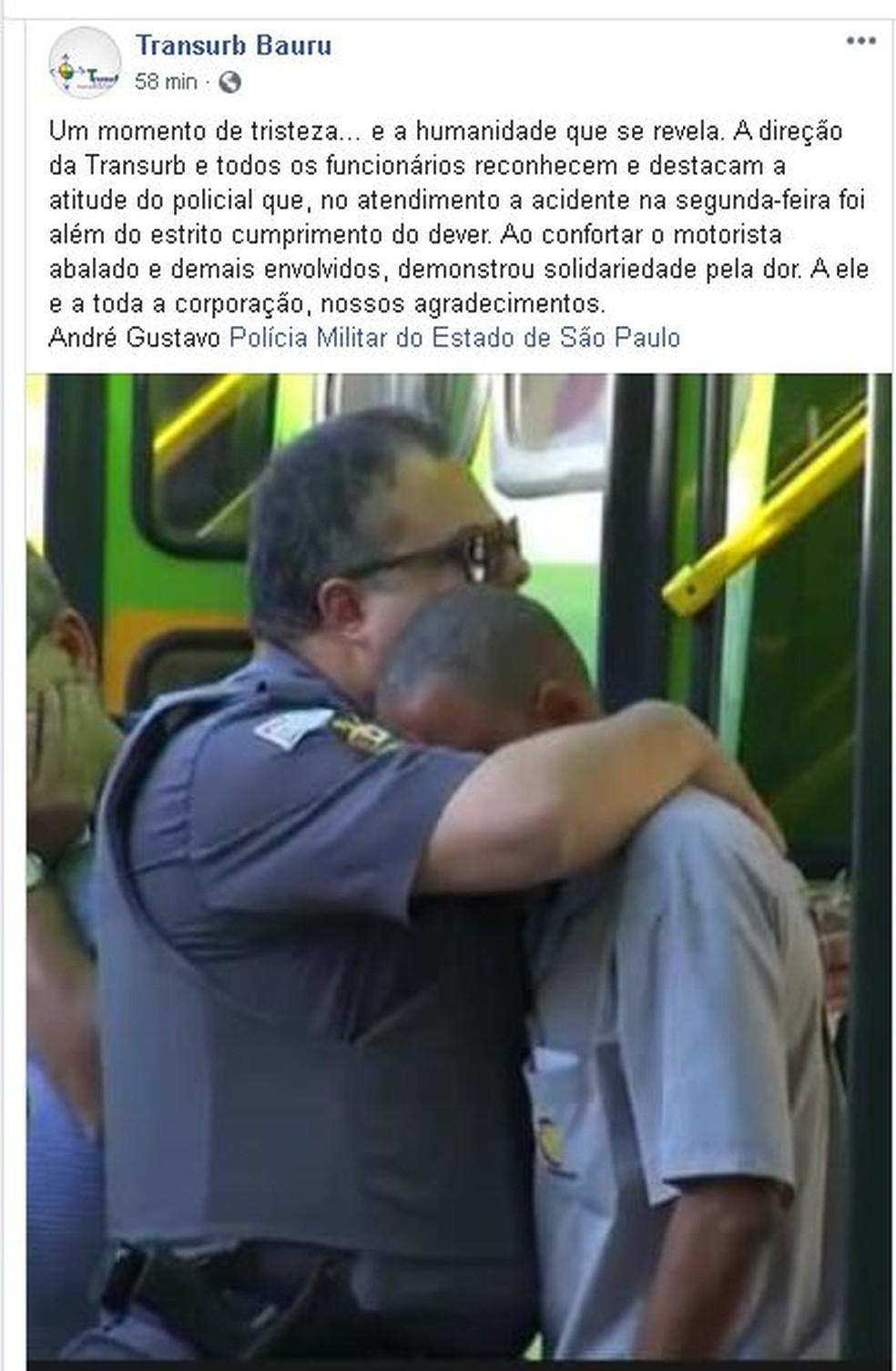 Empresa de ônibus também compartilhou e agradeceu a atitude do policial  — Foto: Facebook/ reprodução