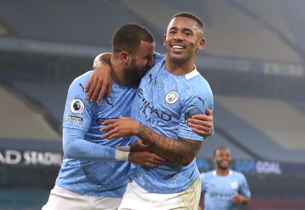 Gabriel Jesus comemora gol do Manchester City contra o Wolverhampton — Foto:  REUTERS/Carl Recine