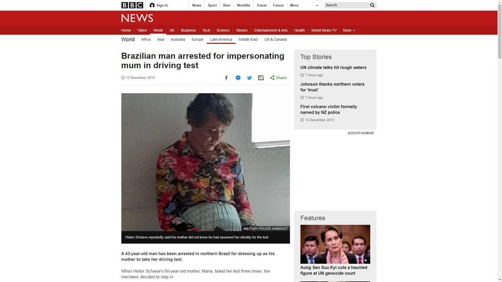 Rede britânica BBC repercutiu caso de Heitor — Foto: Reprodução