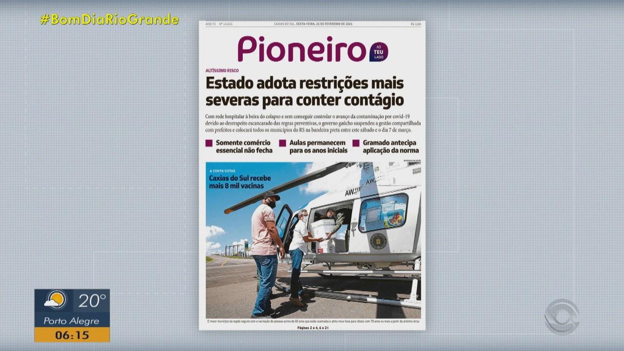 Confira as principais capas dos jornais do RS desta sexta-feira (26)