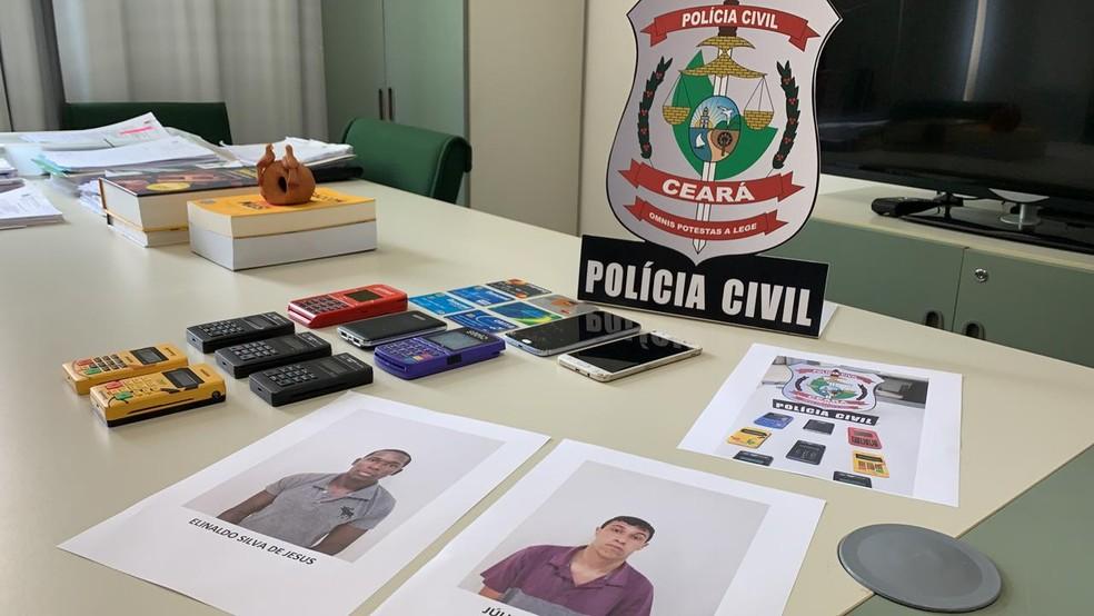 Dupla é presa por aplicar golpe do cartão cortado em Fortaleza. — Foto: João Pedro Ribeiro/TV Verdes Mares