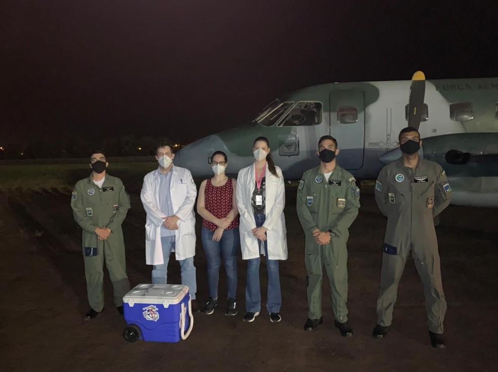 Órgãos para transplante foram trazidos até o Hospital das Clínicas de Botucatu — Foto: Hospital das Clínicas de Botucatu/Divulgação