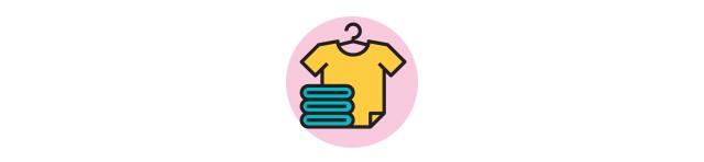 Ícone de camiseta no cabide e pilha de roupas (Foto: Ícone de camiseta no cabide e pilha de roupas (Ilustração: Flaticon))
