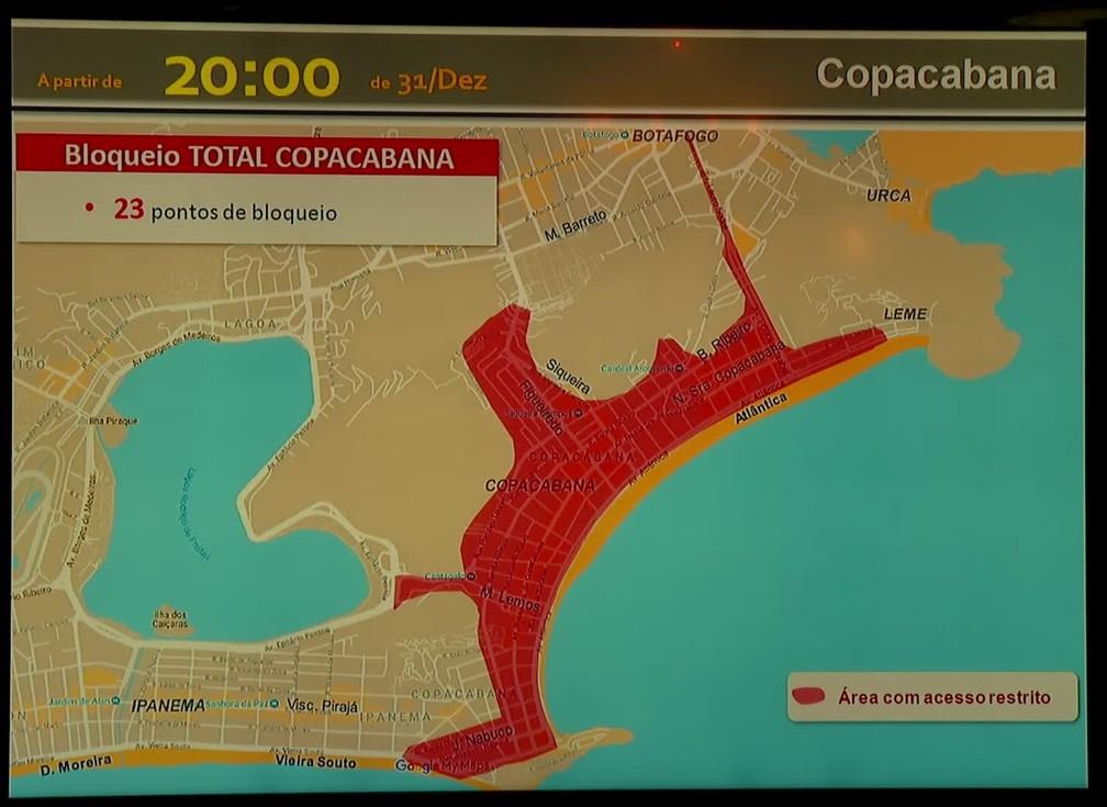 Fechamento de Copacabana para o réveillon a partir das 20h de quinta-feira (31) — Foto: Reprodução