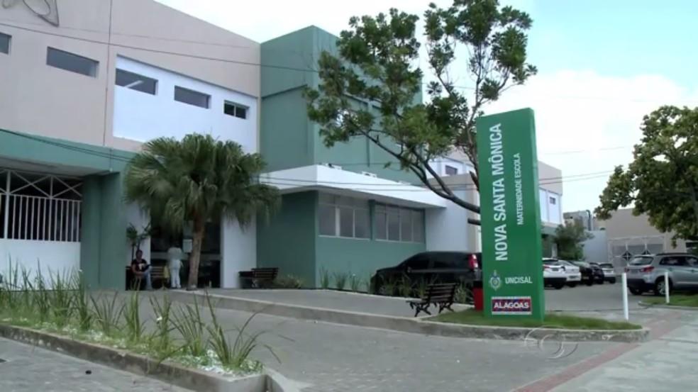Recém-nascido foi levado para a Maternidade Escola Santa Mônica, em Maceió — Foto: Reprodução/TV Gazeta