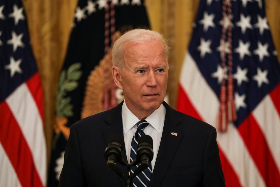 Presidente dos EUA, Joe Biden, em coletiva de imprensa na quinta-feira (25). — Foto: Leah Millis/Reuters