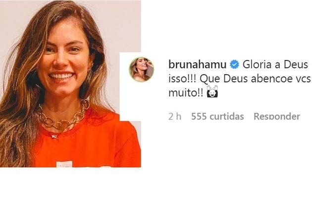 A atriz Bruna Hamú, que é evangélica como Sasha e João, deixou uma mensagem cristã (Foto: Reprodução)