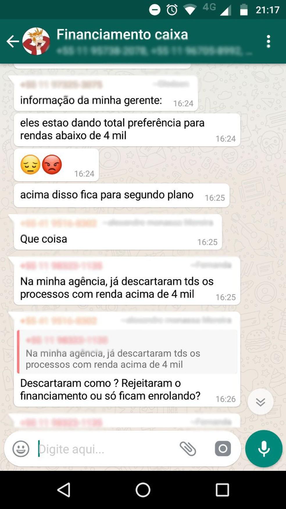 Grupo de Whatsapp reúne pessoas com queixas sobre financiamento da Caixa (Foto: Reprodução)