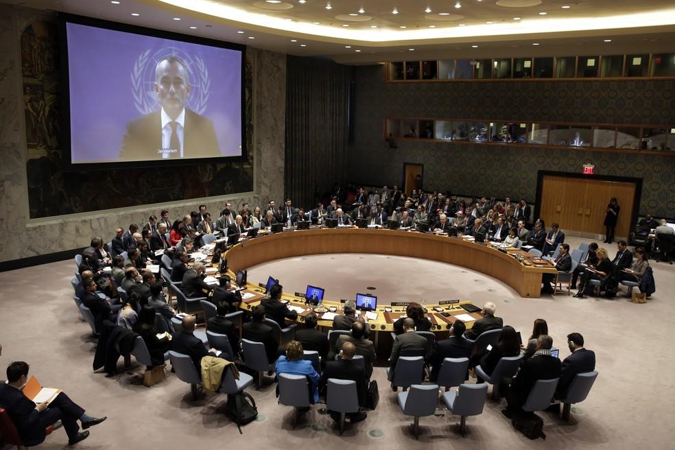 Reunião do Conselho de Segurança da ONU, em imagem de arquivo (Foto: AP Photo/Richard Drew)