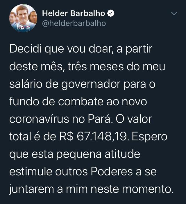Governador do Pará anuncia que vai doar próximos três meses de salário para fundo de combate ao coronavírus