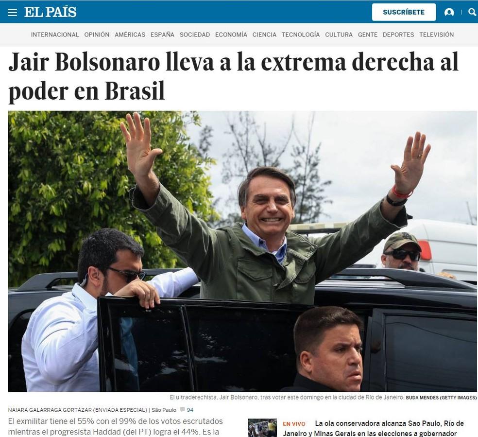 El País colocou em destaque a vitória de Bolsonaro em sua versão internacional — Foto: Reprodução/El País