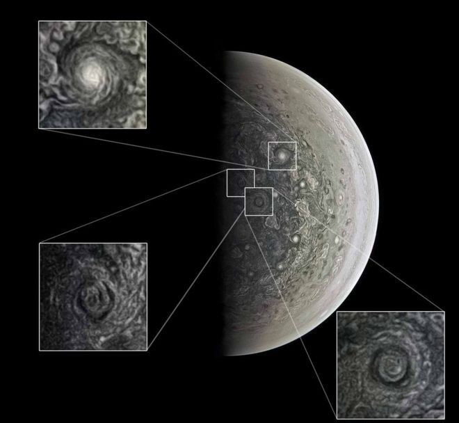 JunoCam registrou ciclones gigantes nos polos (Foto: NASA/SWRI/MSSS/ROMAN TKACHENKO via BBC News Brasil)