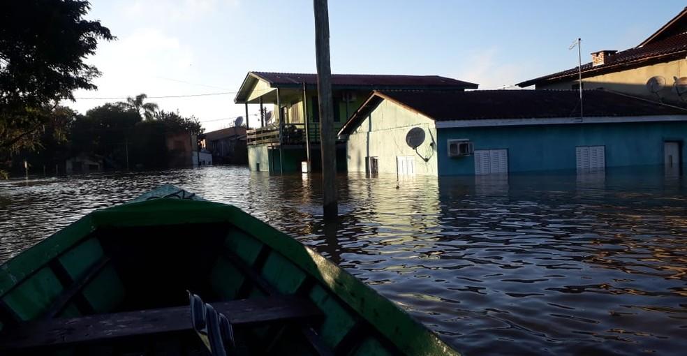 São Jerônimo teve situação de emergência decretada após enchente — Foto: Defesa Civil do RS/Divulgação