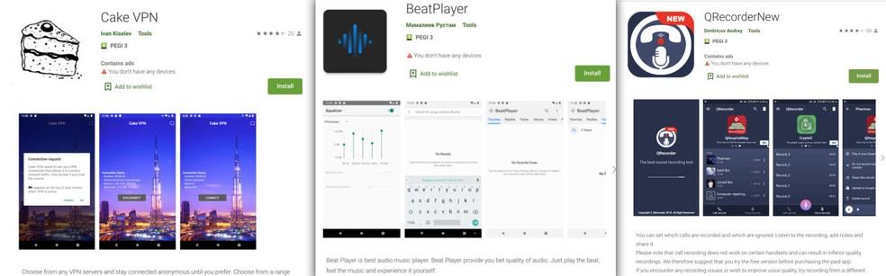 Aplicativos falsos na Play Store possuíam componente malicioso chamado de 'Clast82 — Foto: Check Point/Reprodução