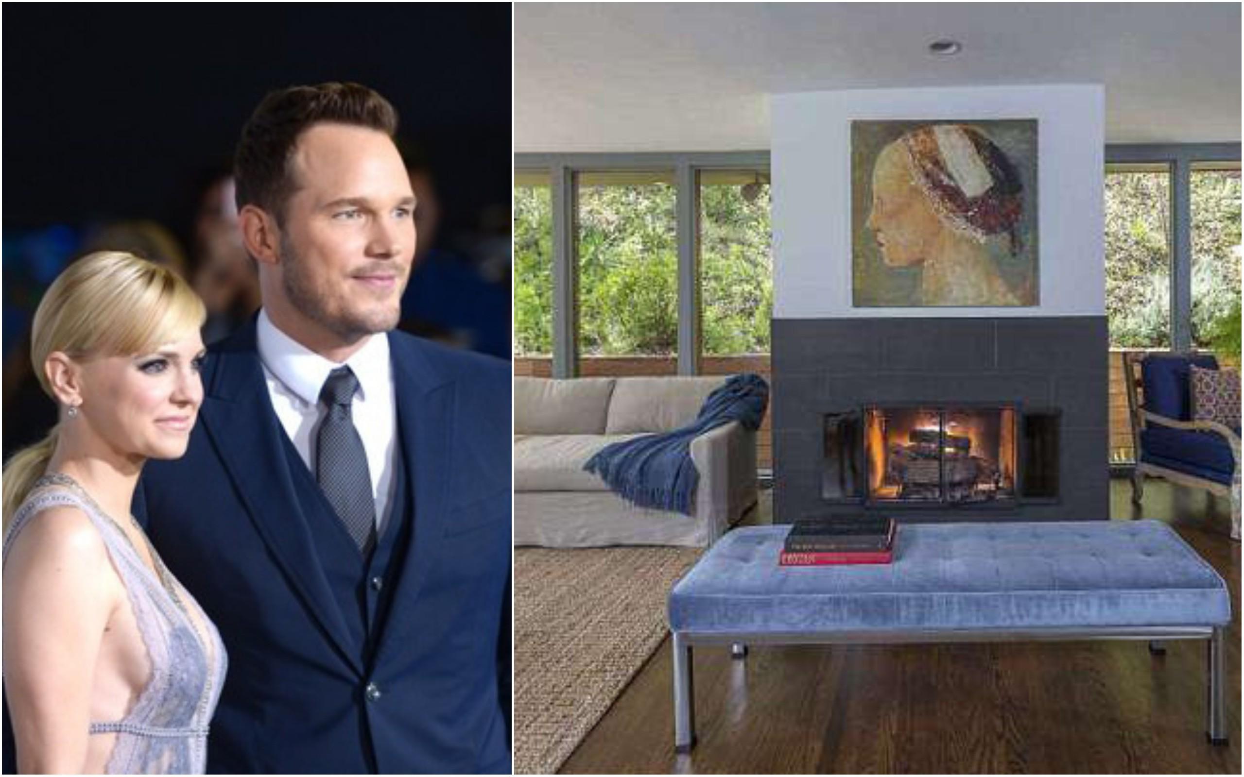Anna Faris e Chris Pratt e a mansão em Hollywood (Foto: Getty Images e Reprodução / Pacific Union International)