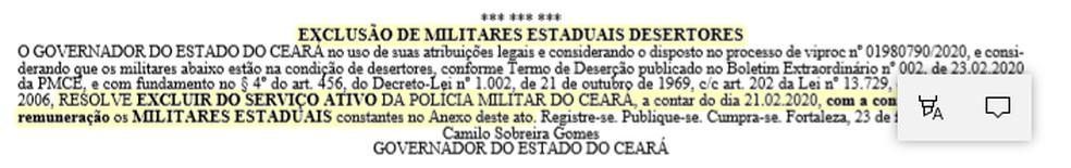 Trecho publicado em Diário Oficial do Estado — Foto: reprodução