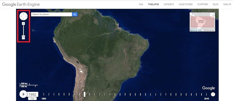 Navegue pelo mapa no Google Earth Engine (Foto: Reprodução/Rodrigo Fernandes)