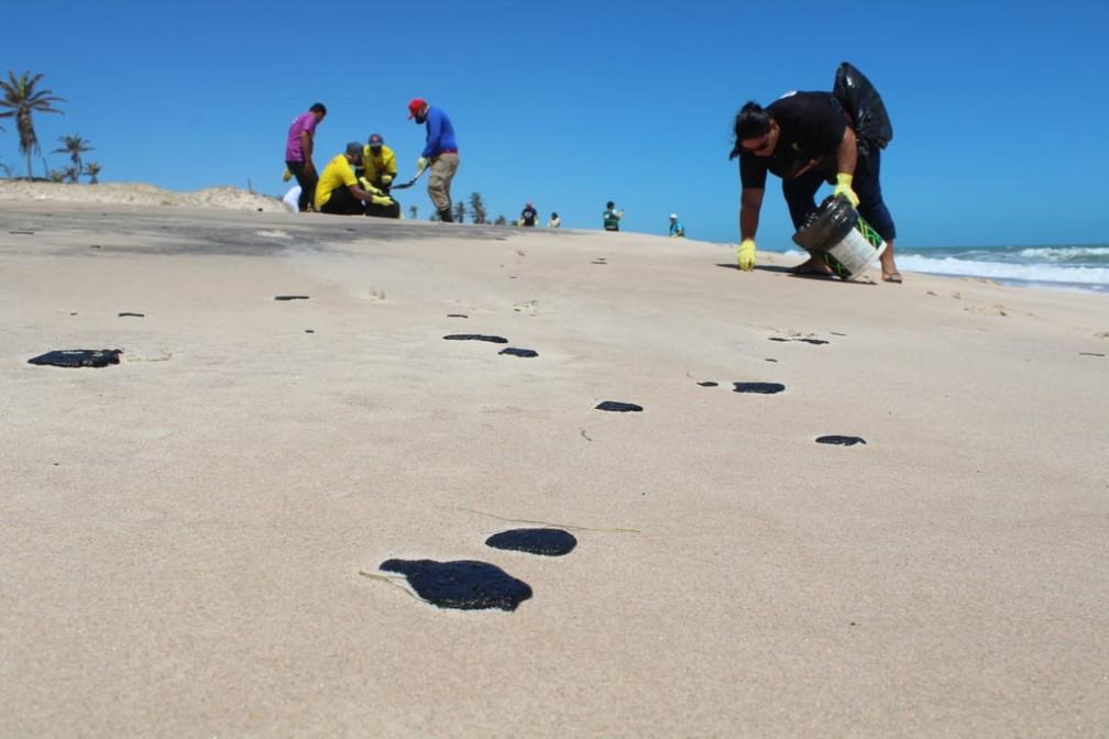 Equipes fazem limpeza de óleo que voltou a surgir em praias cearenses — Foto: Arquivo pessoal