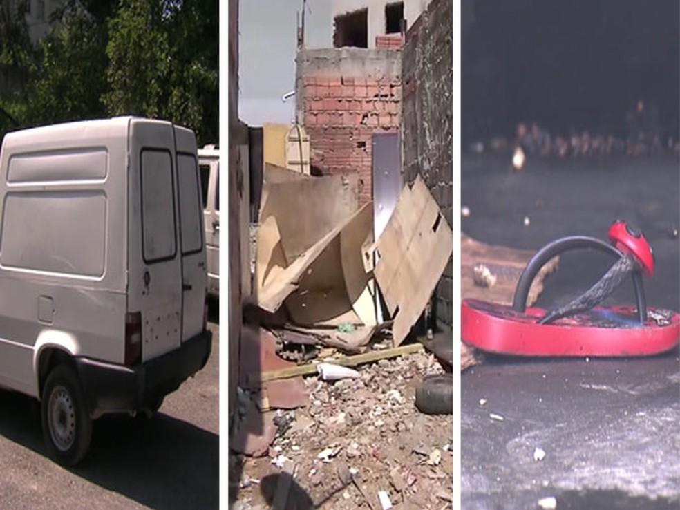 Fiorino, onde corpos foram achados, estava em terreno; chinelo de uma das crianças foi reconhecido pelos familiares (Foto: Reprodução/TV Globo)