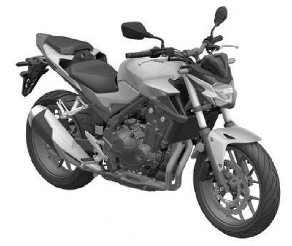 Honda CB 500F teve patente registrada no Brasil — Foto: Inpi/Reprodução