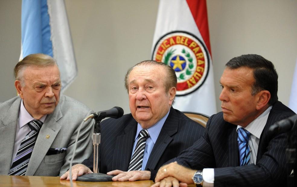 José Maria Marin, Nicolas Leoz  e Juan Ángel Napout: todos presos (Foto: AFP) (Foto: )