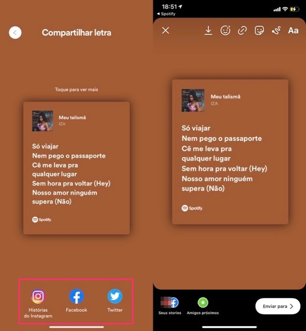 Ação para compartilhar um trecho de letra de música do Spotify nas redes sociais — Foto: Reprodução/Marvin Costa