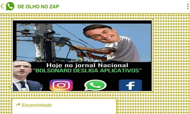 Apoiadores de Bolsonaro também fizeram piada com a pane do WhatsApp, Facebook e Instagram